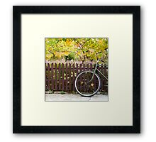 bicycle and fence, circle and square Framed Print