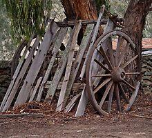 Wagon Wheel and Cart Circa 1850's by Ronald Rockman