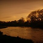 Sunset On The River Derwent by Lou Wilson