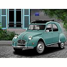 Citroen 2CV Poster Illustration by Autographics
