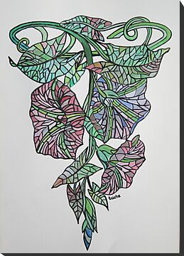 Vintage Style Stained Glass Morning Glory by taiche