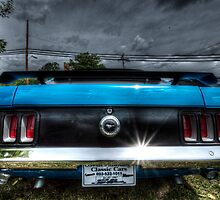 HDR - Mustang Rear under Brooding Sky by Doug Greenwald