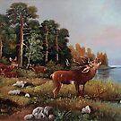 young deer beside a lake by dusanvukovic