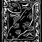 Koi Carp Lino Print by Julie Nicholls
