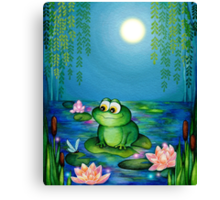 Frog & Lily Pond  Canvas Print