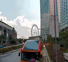Cartoon - Tourist bus for Sentosa in front of the Marina Bay Sands by ashishagarwal74
