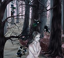 Omen Girl in Purple Forest with Magpie Birds by plantiebee