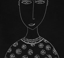 Man with Circular Patterned Top Portrait by Julie Nicholls