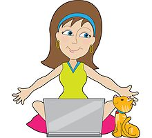 Happy Laptop Lady by Maria Bell