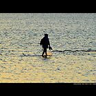 Man Walking Along Coast Of Long Island Sound - Stony Brook, New York by © Sophie Smith