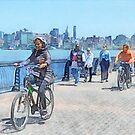 Bicycling Along Pier A Hoboken NJ by Susan Savad
