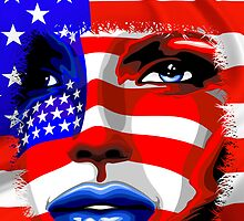 Usa Flag on Girl's Face by BluedarkArt
