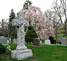 Beautiful Crucifix Against Background of Weeping Cherry Tree by Jane Neill-Hancock