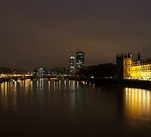 River Thames and Houses of Parliament by night by Jamie Parker