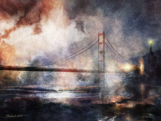 The Hanging Bridge at Dusk by Stefano Popovski