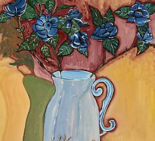 Blue Roses in a Vase by Nira Dabush