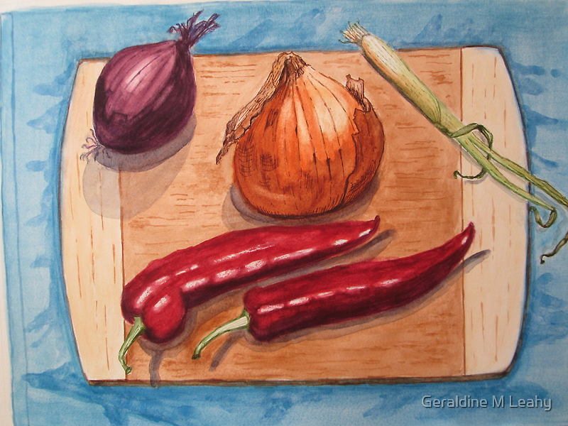 Still Life with Onions and Peppers by Geraldine M Leahy