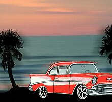 57 Chevy on Daytona Beach by WhirlingThunder