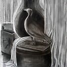 Still Life - Stuffed Bird with Urn by Karen Gingell