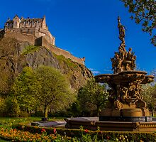 Ross fountain with the castle in the background by Graeme Ross
