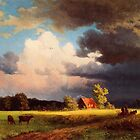Bierstadt Albert Bavarian Landscape, gorgeous rich color landscape oil painting. by naturematters