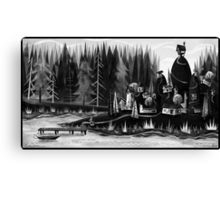 Village by the Lake Canvas Print