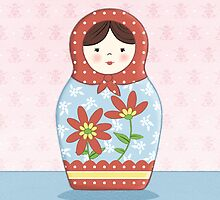 Matryoshka Doll Red & Blue by amalou