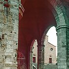 From under civic centre towards Duomo San Gimignano 198403140016 by Fred Mitchell