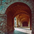 Walkways at side of Duomo San Gimignano 198403140018  by Fred Mitchell