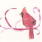 Colored Pencil Cardinal with Ribbons by ShinyDesigns