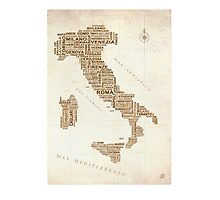 Italy Text Map Photographic Print