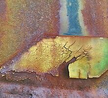 Rusty Metal Plate Under A Railroad Trestle by Charldia