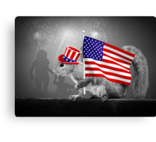 Armed with American Pride - Squirrel Canvas Print