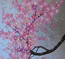 Pink cherry blossom phone cover / case or ipod case by cathyjacobs