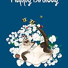 Happy Birthday Card - Siamese Cat at leisure by LeahG Artist