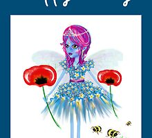 Happy Birthday Card - Flower Fairy Natures Gift by LeahG Artist