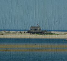 Grey House on Sandbar by Karen Checca
