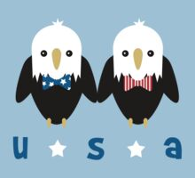 Kawaii American Bald Eagles with Bowties by anertek