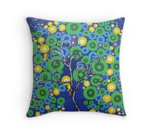 peacock tree with circle leaves Throw Pillow