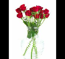 Bouquet Of Red Roses In A Glass Vase by © Sophie W. Smith