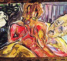 BODY LANGUAGE - 1 - acrylic, tempera, foam board 22 x 28'' by irishrainbeau