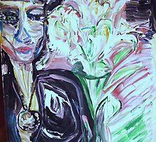 LADY WITH A VISION -acrylic, tempera, paper 22 x 28'' by irishrainbeau