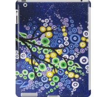 tree painting in blue yellow and green with midnight sky iPad Case/Skin