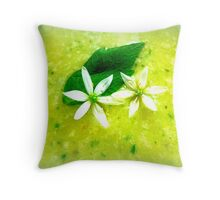 Asparagus and basil soup with wild garlic flowers Throw Pillow