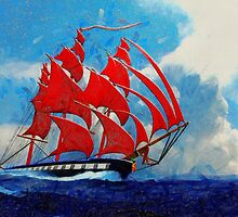 A digital painting of The Clipper Ship Indian Queen by Dennis Melling