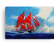 A digital painting of The Clipper Ship Indian Queen Canvas Print