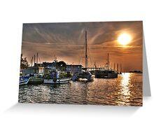 Fiery Sky Over the Lagoon - Grado - Italy Greeting Card