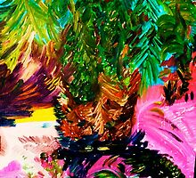 PALM TREE AND IT,S SHADE - oil, acrylic, canvas 24 x 32'' by irishrainbeau