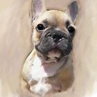 Digitally Painted French Bulldog  by Moonlake