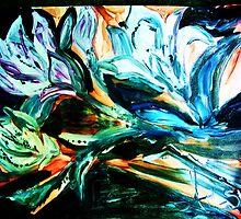NIGHT LILIES - acrylic, tempera, paper 22 x 28'' by irishrainbeau